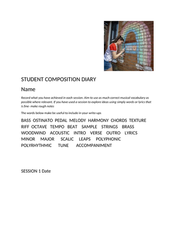 KS3 Lockdown Composition Project- Teacher Powerpoint and student diary