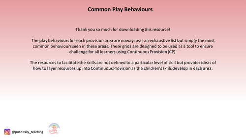 Common Play Behaviours for Continuous Provision Areas