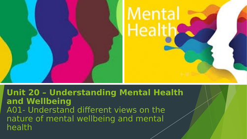 Unit 20 - Understanding Mental Health - Introductory lesson. Btec 2016 Specification