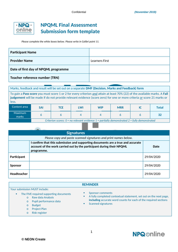 NPQML - full marks 32/32 Focus on attendance from pastoral role