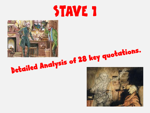 Stave 1 Key Quotations Analysis A Christmas Carol | Teaching Resources