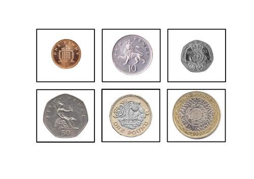 UK/British Money/Coins 1p 20p 50p £1 £2 - Matching Task/Autism/ASC/SEN/Maths