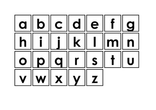 Individual lower case letter symbols