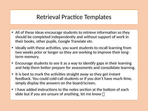 French and Spanish Retrieval Practice Templates
