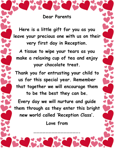 Welcome Note to Reception Class!