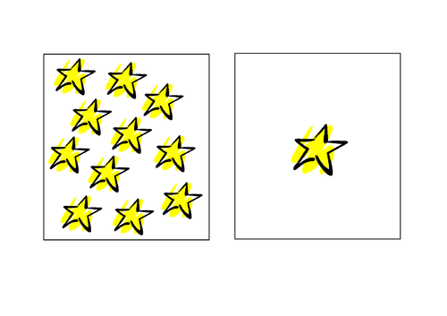 Space theme identifying one and lots - Autism/ASC/SEN/Maths/Number