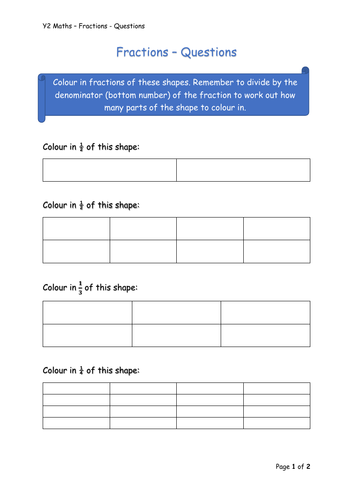 Y2 Maths - Fractions (Free)