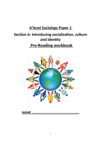 Socialisation, culture, identity guided note taking booklet OCR sociology