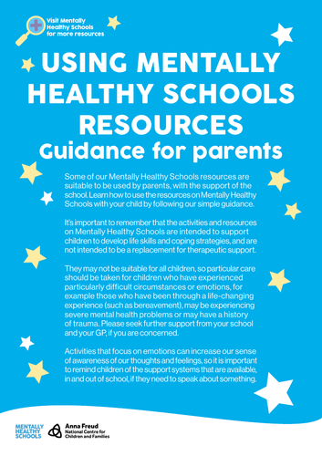 Guidance for parents - delivering mental healthy schools resources