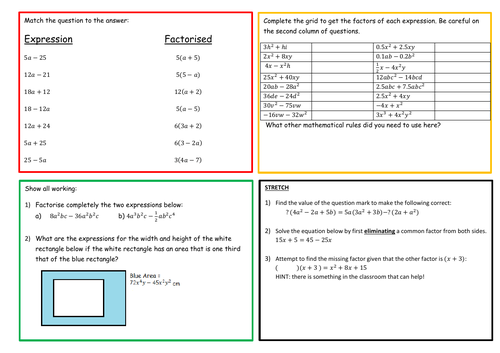 Factorising into Single Brackets KS3