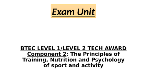 BTEC Tech Award - Component 2 - LAA - A1 - Components of fitness