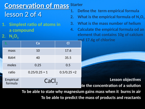 CC9b - Conservation of mass/ reacting masses