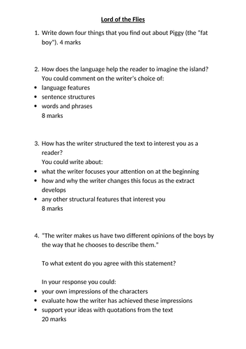 comprehension - extracts and questions based on AQA