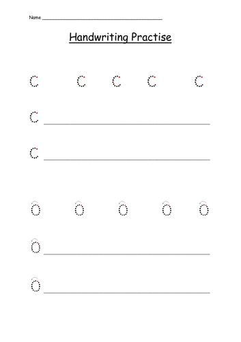 Handwriting Practice Sheet for Letters c, a and o (curly caterpillar letters)