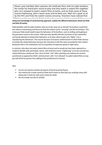 Social Learning theory A02 8 marker, Alevel Psychology