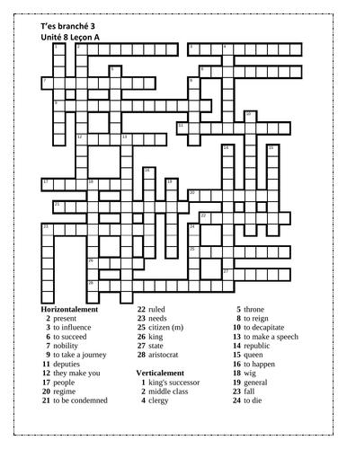 T'es branché 3 Unité 8 Leçon A Crossword
