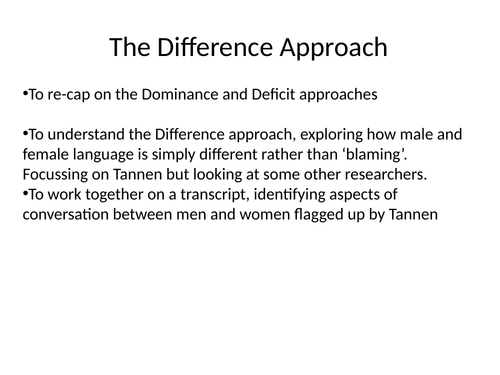 Difference approach Tannen Language