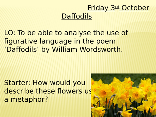Poems Daffodils and Upon Westminster Bridge lessons