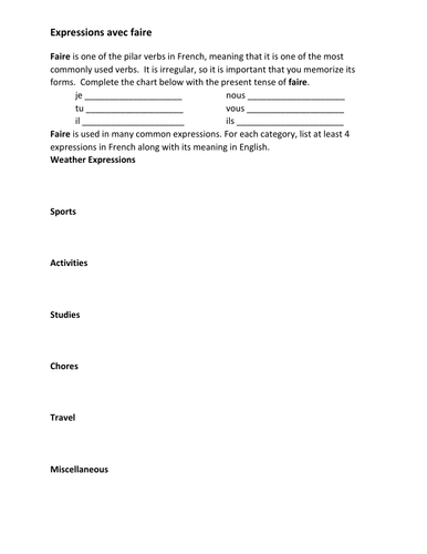 Expressions avec Faire French Verb Worksheet 2
