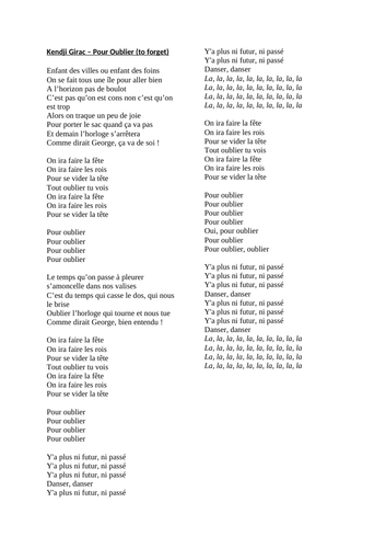 French song lyrics - 21 pages of French music