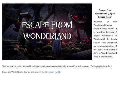 Escape from Wonderland (digital escape room for remote teachers!)