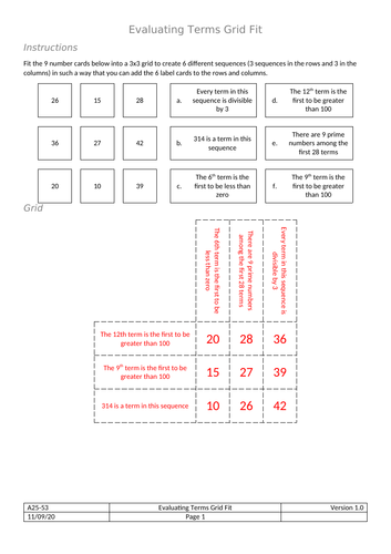 Grid Fit - Evaluating Terms of Sequences
