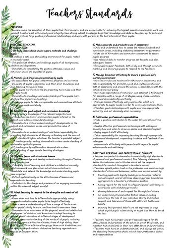 Teacher's Standards & Folder Dividers