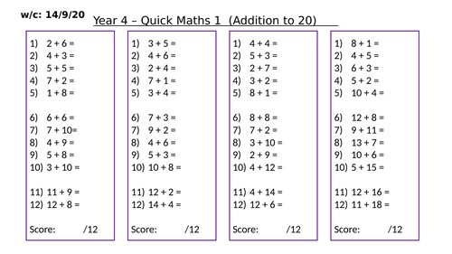 Quick Maths Starters 1 (Differentiated)