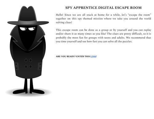 Spy Apprentice Digital Escape Room
