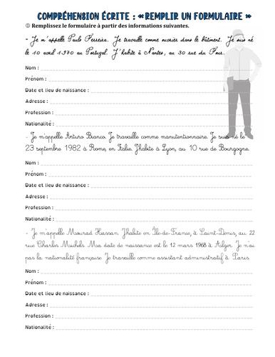 French worksheet (A1): filling in a form with information (personal data)