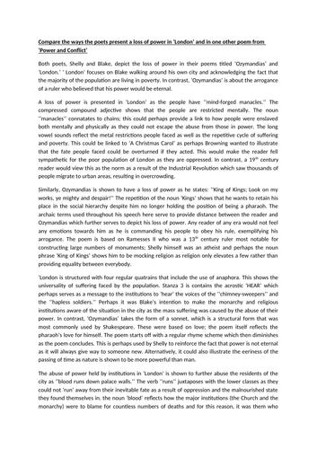 Ozymandias and London Comparative Essay