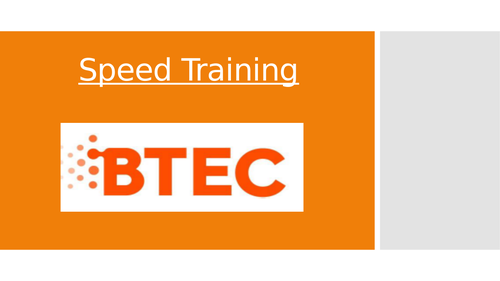 Lesson 8: Speed Training (BTEC First Sport Level 2, unit 1)