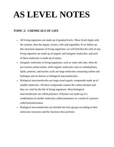 Cambridge AS Level Biology notes biological Molecules