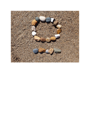 Beach and pebble number cards