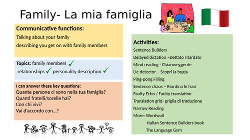 Family sentence builders Italian