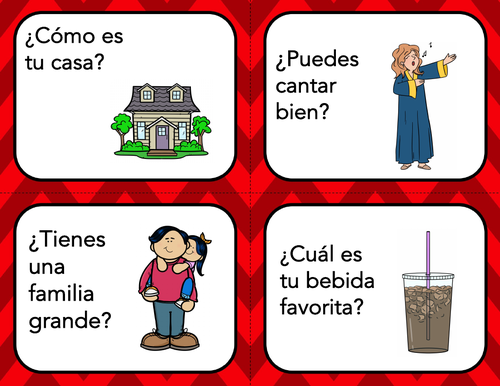 Spanish Conversation Starters / Icebreaker: 50 Task Cards (Present Tense Only)