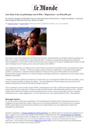 Culture-News article Les mignonnes French A level