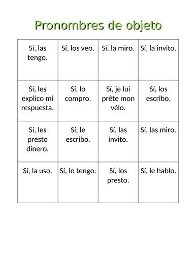 Pronombres de objeto Object Pronouns Bingo and Worksheet