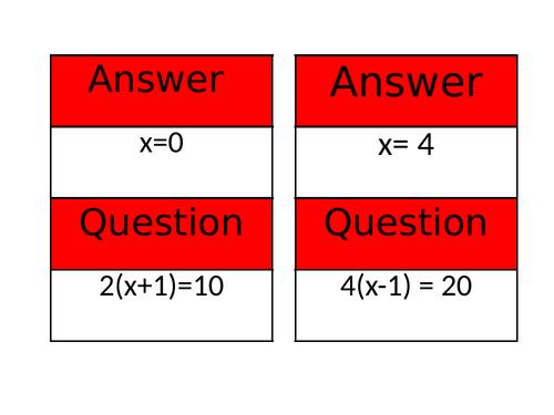 Solving Equations Treasure Hunt, (4 part differentiation.