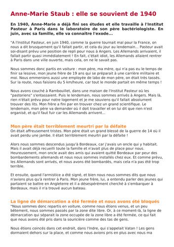 France sous Occupation - Témoignage juin 1940