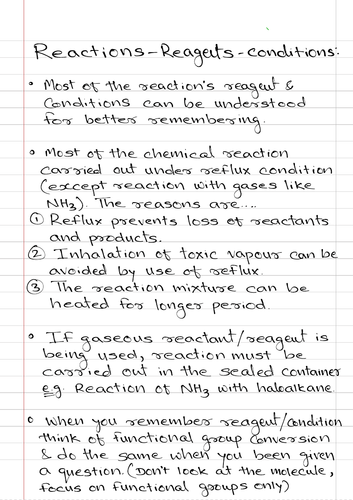 Reagent and conditions- A level