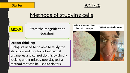 AQA A-Level New specification-Methods of studying cells-Section 2-Cells 3.1 (AQA spec 3.2.1.3)