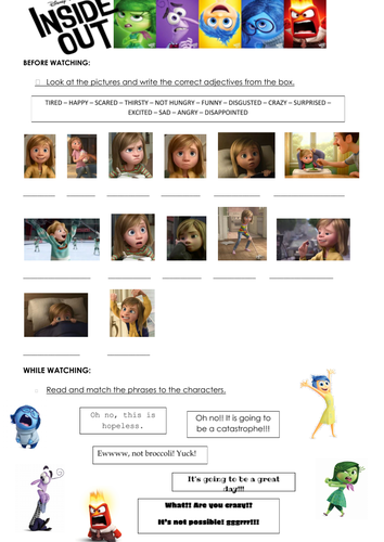 Inside Out (movie worksheet)