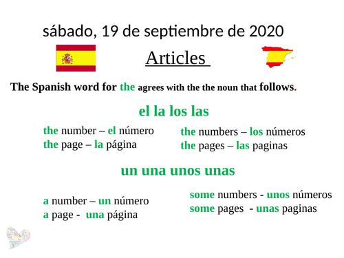 Spanish articles GCSE revision AQA