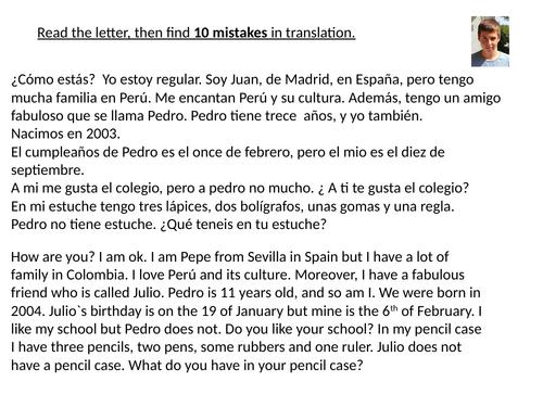 GCSE Spanish reading  and translation practice.