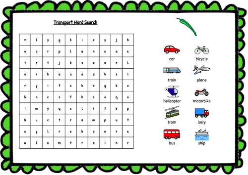 Transport Word Search - with symbols