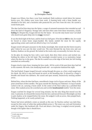 Year 7 English Comprehension - Eragon Part 2