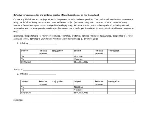 Worksheet on reflexive verbs