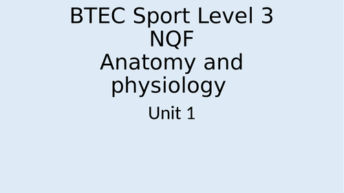 BTEC Sport Level 3 Unit 1 Sections A/B/E