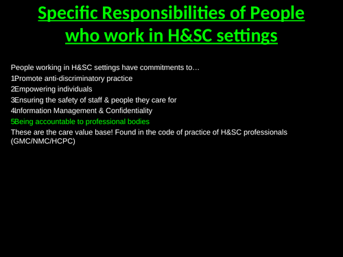 Accountability to Professional Bodies (Unit 2 Working in HSC) Learning Aim A3